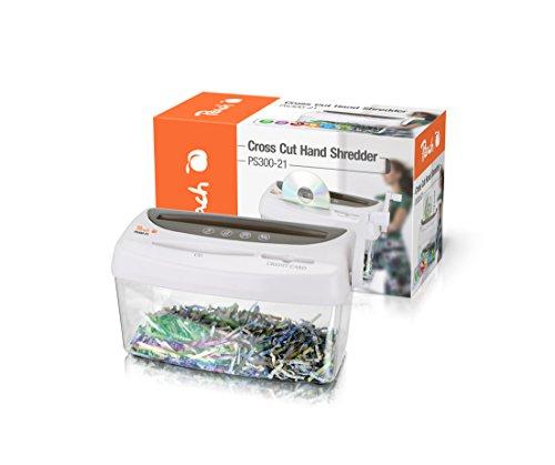 Peach PS300-21 Partikelschnitt Aktenvernichter | 1 Blatt | 4 Liter | 3.5 x 4 mm Partikel (P-4) | Papier, CDs, Kreditkarten | manuell betrieben, Strom unabhängig | geeignet für neue Datenschutzgrundverordnung DSGVO 2018