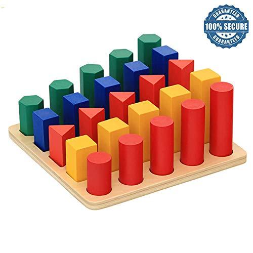 TT RUN Baby-Holzspielzeug, Geometrie, Form Leiter Lehrmaterialien, Spielzeug-Block Holz Lehrmittel Baby Learning Portfolio Kombination, Für 1 2 3 Jahre Alt Baby-Geschenk