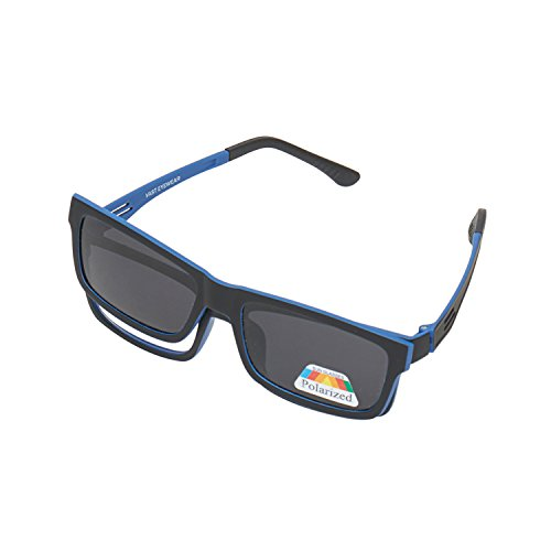 Vast Polarized Full Rim Rectangular Unisex Spectacle Frame And Sunglasses(Clipon_P005_Black_Blue|53|Grey)
