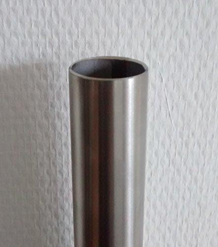 110 cm Premium Edelstahl Kleiderstange – Edelstahl V2A D 33,7 mm – hochwertige Oberfläche – Set für Garderobe Kleiderschrank oder Nische LIVINDO - 6