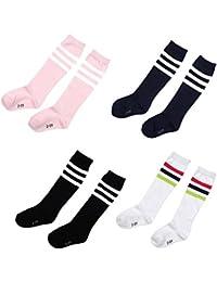 Lucky Will 4 pares niños niños niñas niños regla rodilla alta calcetines largos de algodón diseño de rayas calcetines de fútbol, 6-7 años