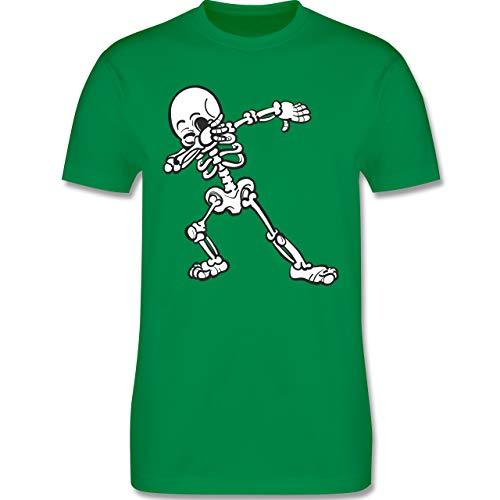 Halloween - Dabbing Skelett - S - Grün - L190 - Herren T-Shirt Rundhals