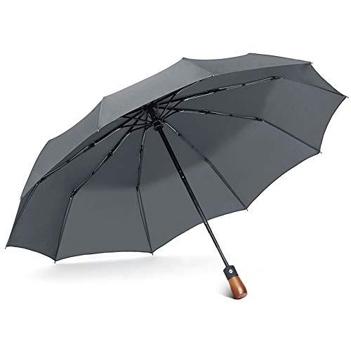 HMKLDFTY Verstärkung Vollautomatische Regenschirm Mann Persönlichkeit Kreativität Trend Große Doppelklappschirm Holzgriff Regen Dual-Zweck Regenschirm Frau, Moderne Asche