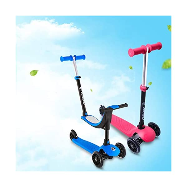 Scooter Children's Four-in-one Can Sit Baby Paddle Car Three-wheeled Skate Block 2-10 Years Old Slippery Car FANJIANI (color : Blue, Size : Ordinary wheel) Scooter ▷Tip: The delivery time of the product is 8-15 days, If you have any questions, please feel free to contact us ▶Adjustable height, suitable for different heights, starting from 58 cm, moving to 72 cm, suitable for children's scooters of different ages ▶Multi-function two-in-one, you can ride a walker, or you can slide a scooter to cultivate your baby's balance ability and exercise your baby's bone growth. 3