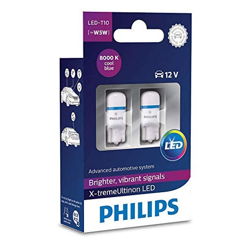 Philips 127998000KX2 X-treme Vision LED T10 8000K CeraLight, Diffusione Uniforme della Luce a 360°