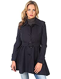24701b77f01cf KRISP® Womens Tailored Stylish Double Breasted Trench Coat Black