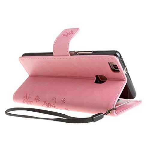 """iPhone 7 Plus Hülle Schwarz , Leathlux Vintage Blume Muster Premium PU Leder Schutzhülle Bookstyle Tasche Schale TPU Case mit Trageschlaufe Standfunktion für iPhone 7 Plus 5.5"""" Pink"""
