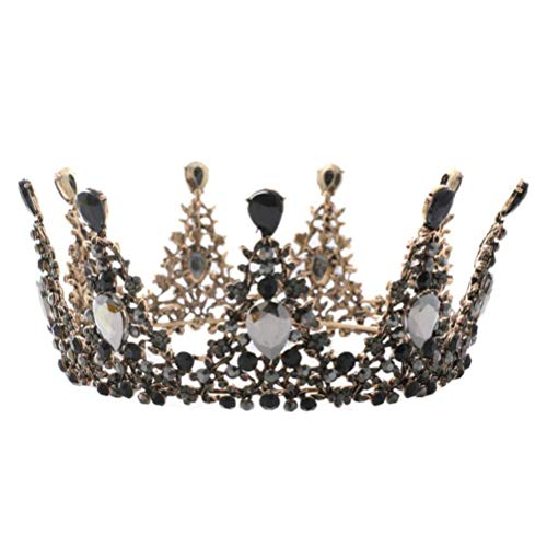 Mode Krone schwarz Strass Tiaras Königin Prinzessin Krone -