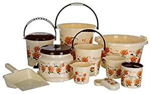 Aarohi13 Modwell Plastic Bath Set, 10 Pieces Jumbo (Brown)