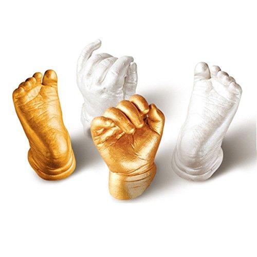 Essort Abformset, 3D Kreide Fingerabdrücke Baby Handprint und Fußabdruck, Metallic Pearl Farbe Keepsakes White/Silver Powder, 4 Stück White (Erwachsenen Hand Gegossen)