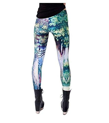 Bestland Damen Legging Tattoo Leggins Sterne Print Style Comic Elastische Stretch Strumpfhose Hüfthose Skinny Hose Enge #12