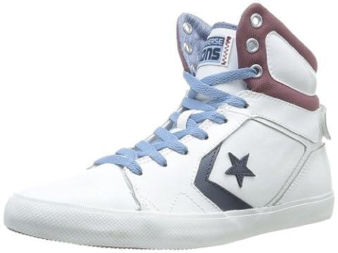 Converse All Star 12 Leather Mid, Baskets mode mixte adulte - Blanc (Blanc/Bordeaux), 38 EU