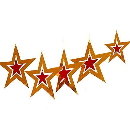 Samber 5 Stück Weihnachts-Pentagramm-Anhänger Drehbarer Fünfzackiger Stern aus Papier Weihnachts Zubehör(Golden und Rot)