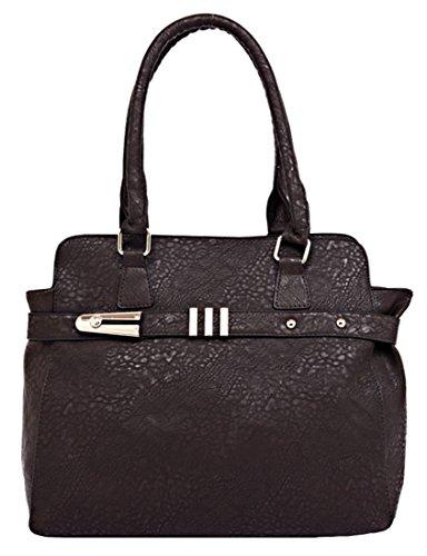 Kukubird Ecopelle Cinturino Orizzontale Tote Shoulder Bag Handbag Dark Brown