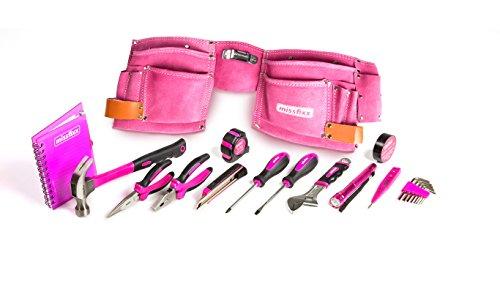 missfixx - Pinker Werkzeuggürtel aus Leder mit Werkzeug