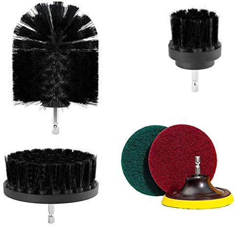 CHshe 6 Stücke/Set Reinigungs Bürste Mörtel Power Scrubber Tub Cleaner Combo Tool Kit, Include 3 Stück Bohrbürste + 1 Stück Bürstscheibe + 2 Stück Schwammbürste