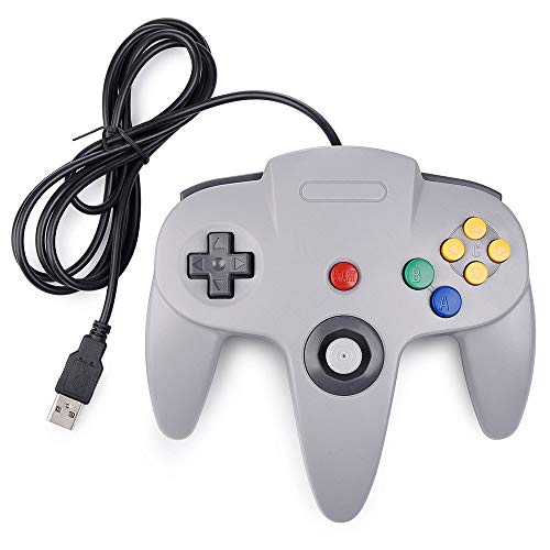 Klassischer USB-Controller für N64, Gamepad Wired Joystick für N64 Switch, USB Wired Game Pad Controller für N64 Bit für PC Windows Mac Laptop Tablet Retro - Grau (Nintendo Retro Controller)