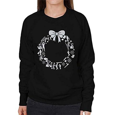 Pulp Fiction Christmas Wreath Pattern Women's Sweatshirt