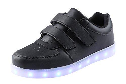 AFFINEST Kinderschuhe LED Sportschuhe USB Aufladen 7 Lichtfarbe Sternen Leuchtend PU Sneaker (Halloween Kostüme Trikot)