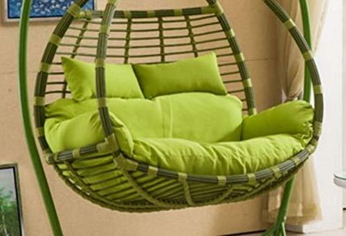 Gww amaca sospesa posteriore cuscino della sedia,altalena spessa cuscini di seduta colore solido rimovibile a dondolo pastiglie per sedie senza supporto-verde 110x150cm(43x59inch)