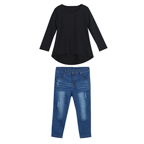 1 Set / 2 PCs Babymädchen Outfit T-shirt Oberteile und Jeans Hosen AMUSTER (Kostüm Rock Ad)