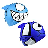 HOGAR AMO Bonnet de Bain 2 PCS pour Enfant en Silicone Bonnet de Natation Cartoon