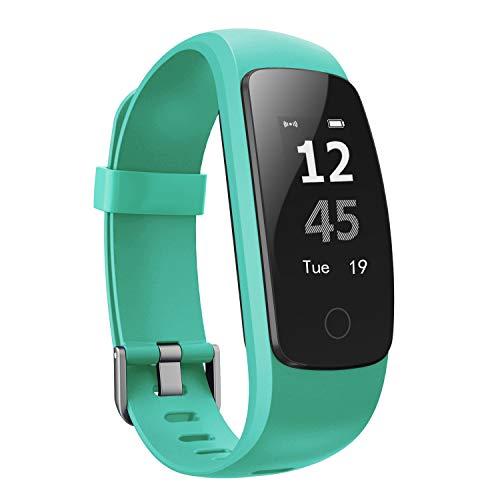 moreFit Slim Touch Wasserdicht Fitness Tracker Mit Herzfrequenz,Smart Fitness Armbanduhr Pulsuhr Schrittzähler,Schwimmen Activity Tracker GPS Für Damen/Herren,Grün