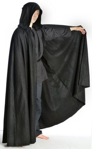 HEMAD moyen à capuche unisexe cape autant schafwollfilz noir/beige/marron Noir - Noir