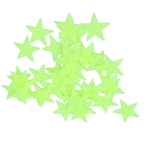 200 PCS Home Wall Glow dans les étoiles sombres Stickers Decal Baby Kid Nursery Room - DIY Wall Decal - vert clair - plastique lumineux Stickers muraux chambre décoration