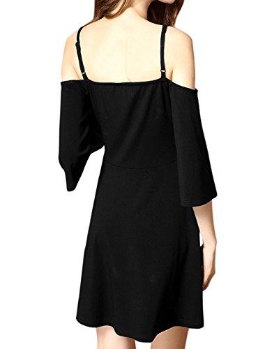 sourcingmap Femme Épaule Ajourée Traverser Front Robe Cami Noir