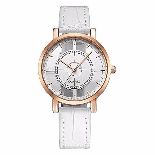 HUIHUI Uhren Damen, Geflochten Armbanduhren Günstige Uhren Wasserdicht Casual Persönlichkeit einfache analoge Handgelenk zarte einzigartige Hohle Coole Uhren Lederarmband Mädchen Frau Uhr (Weiß)
