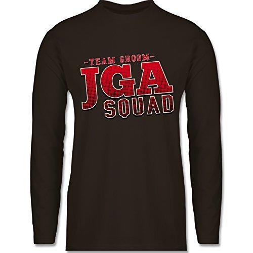 Shirtracer JGA Junggesellenabschied - JGA Squad Team Groom - Herren Langarmshirt Braun