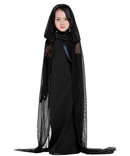 Costume da strega con cappuccio natale cosplay costume da vampiro con mantello nero regalo