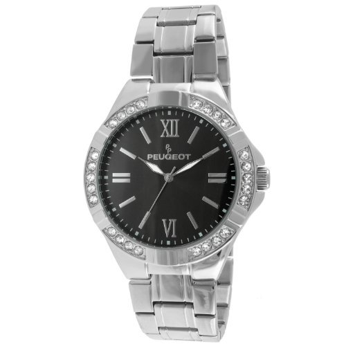 Peugeot 1043S Men's Crystal Accent Bezel Silver-tone Watch