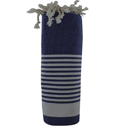 Baumwolle Handtuch Fouta Hammam oder Strand Blau Jean Farbe Weiß Streifen (Kik Jeans)