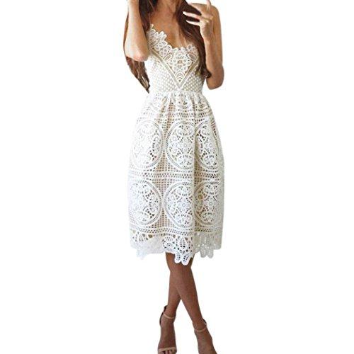 Kleider Damen Sommer ärmelloses Formelle Party Brautjungfer Braut Ballkleid Cocktail Kleid Xinan (M, Weiß)