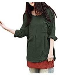 MRULIC Damen Leinen Gemütlich Leinen Dünnschnitt Lose langärmelige Bluse  T-Shirt Pullover 44a7d42ab7