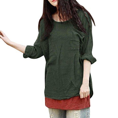 MRULIC Damen Leinen Gemütlich Leinen Dünnschnitt Lose langärmelige Bluse T-Shirt Pullover(Grün,EU-46/CN-2XL)
