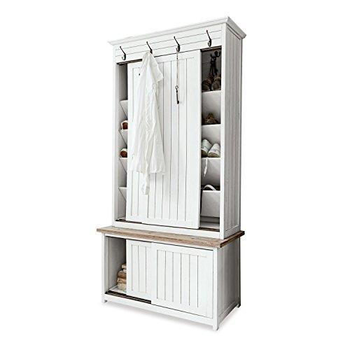 Loberon Garderobe Remerton, Tannenholz/MDF, H/B/T ca. 175/86 / 45 cm, weiß/braun