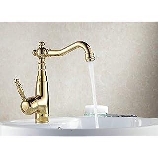 Willsego Wasserhahn Großhandel Auswind Antique Messing Wasserhahn Gold Küche Pan Mixer Bad Wasserhahn Waschbecken Becken Mixer, A (Farbe : A, Größe : -)