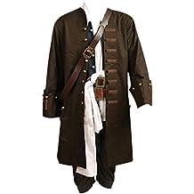 Disfraz de Jack Sparrow de Pirates Of The Caribbean, chaqueta, chaleco, cinturón,