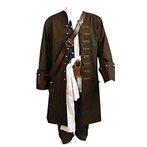 Disfraz de Jack Sparrow de Pirates Of The Caribbean, chaqueta, chaleco, cinturón, camisa, pantalones, tamaño adulto de la UE Marrón marrón L
