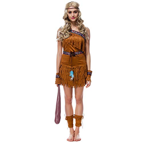 CJJC Native Indian Backless Short Kostüm, Cosplay Holiday Party Performance Uniform Set, Troddel Forest Hunter Kostüm, Braun (Sexy Native Kostüm)