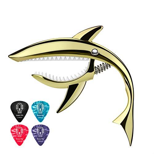 Donner Kapodaster Gitarre Shark Capo Zinklegierung für Gitarre, Ukulele, Banjo, Mandoline, Bass, Gold