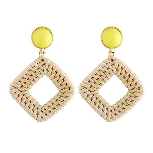 nge Frauen Mädchen HandHandgewebte Gemachte Wicker Stroh Ohrringe Europäische und Amerikanische Kreative Modeohrringe Retro Geometrische Ohrringe im Ethnischen Stil ()