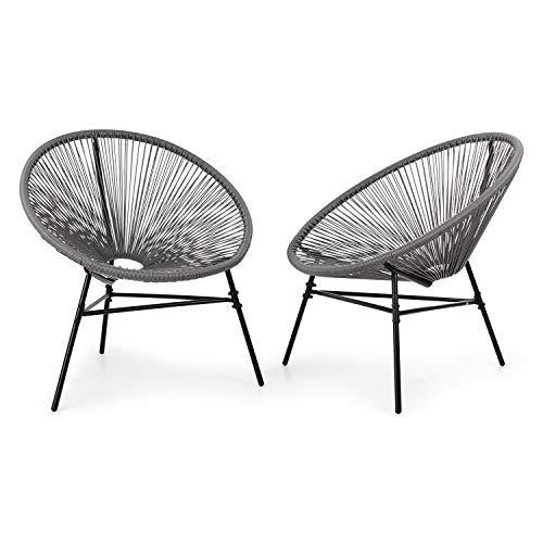 blumfeldt Las Brisas Chairs Gartenstühle • 2er-Set • Retro-Design • Bespannung aus 4mm-Geflecht • Material Gestell: pulverbeschichteter Stahl • witterungsbeständig • grau
