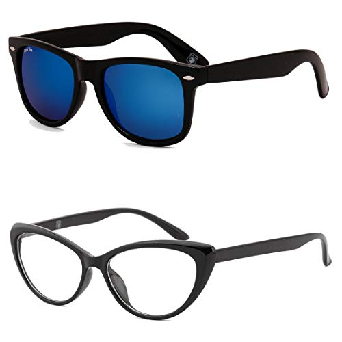 Royal Son Blue Mirrored Wayfarer and Transparent Cat-Eye Women Sunglasses Combo