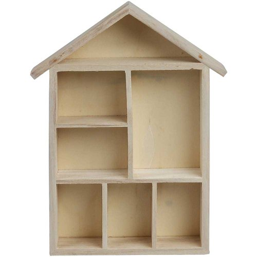 Creativ 1-Piece Wooden House Shaped Shelving System with 7 Small Compartments
