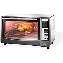 BEEM  - Forno ad infrarossi Beem D1000605 Cucinetta Forno multifunzione ventilato con 4 elementi riscaldanti a raggi infrarossi Alto risparmio energetico solo 1300 Watt Temperatura regolabile fino a 230 gradi C Completo di Girarrosto Cestello per fritti Base pizza Timer