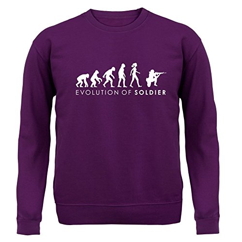 Evolution of Woman - Soldatin - Kinder Pullover/Sweatshirt - Lila - XL (9-11 Jahre) (Militär-kleinkind-t-shirt)